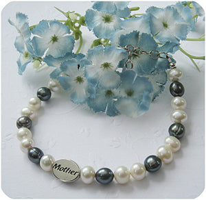 Mother Memorial Bracelet | White and Grey Freshwater Pearls | Sterling Silver