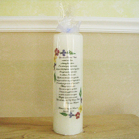 My Forever Child Poem Floral 3 x 9 Personalized Memorial Candle