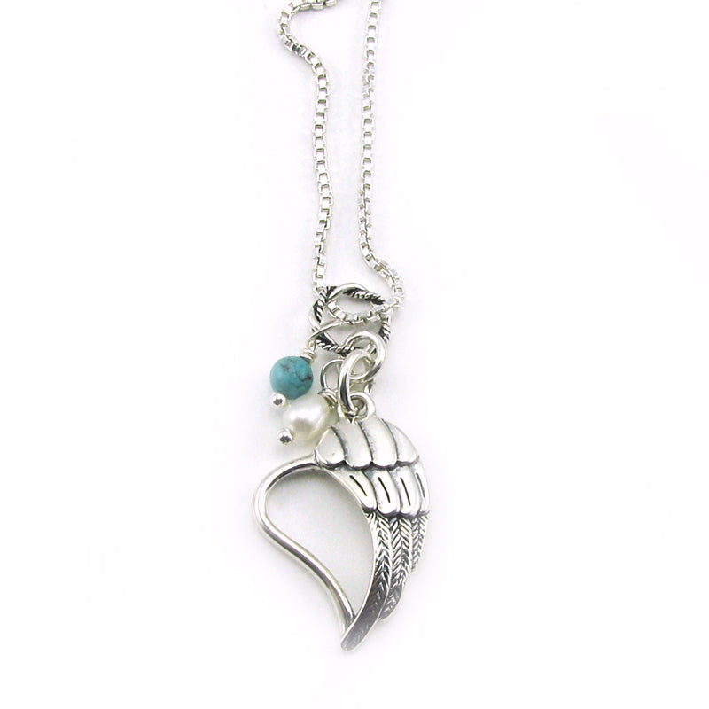 Angel Wing Open Heart Memorial Necklace | Sterling Silver