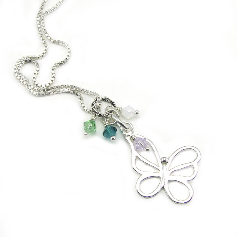 Open Butterfly Memorial Necklace | Sterling Silver