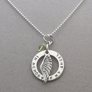 In Memory of My Angel Personalized Angel Wing Disk Memorial Necklace with August-Peridot birthstone dangle