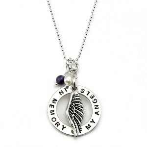 In Memory of My Angels Personalized Angel Wing Disk Memorial Necklace with June-Pearl and September-Iolite birthstone dangle