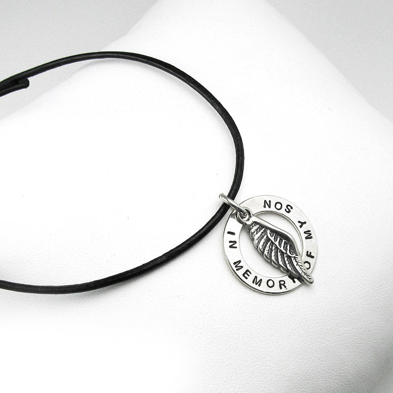 Personalized Angel Wing Disk Leather Memorial Necklace for Fathers