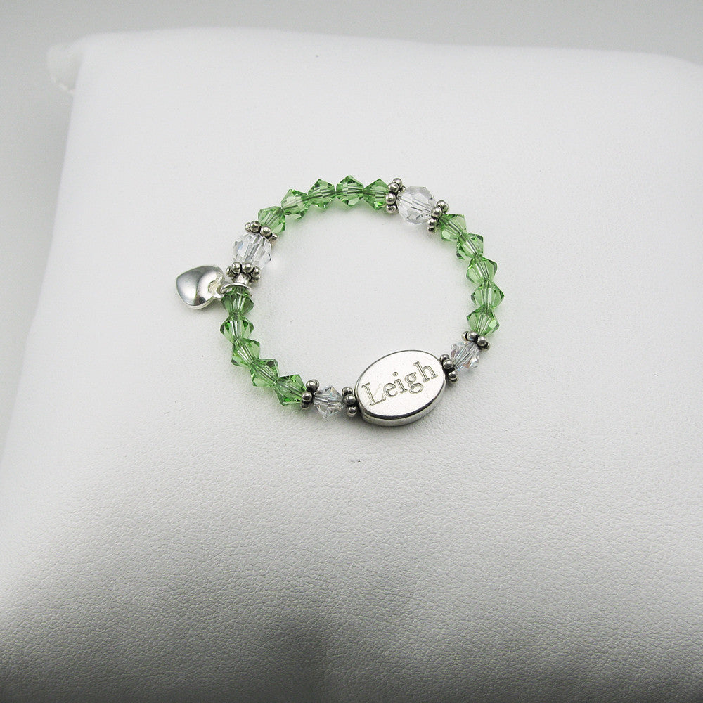 Personalized Baby Memory Box Bracelet, shown with August-Peridot birthstone crystals