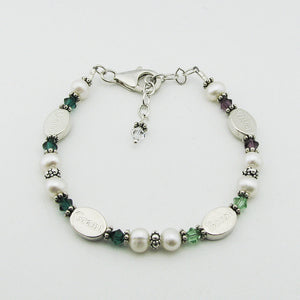 Mothers Bracelet- 4 Personalized Name Beads with Birthstones | Freshwater Pearl & Sterling Silver