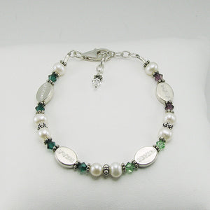Mothers Bracelet- 4 Personalized Date Beads with Birthstones | Freshwater Pearl & Sterling Silver