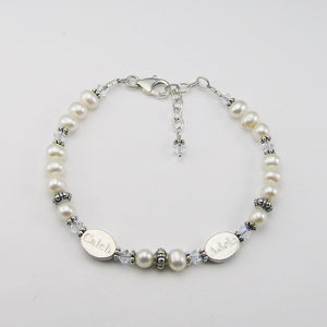 Mothers Bracelet- 2 Personalized Name Beads with April-Clear Crystal Birthstones | Freshwater Pearl & Sterling Silver