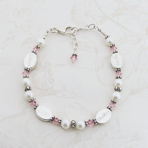 Mothers Bracelet- 4 Personalized Name Beads with Girl-Pink Crystals | Freshwater Pearl & Sterling Silver