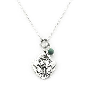 Personalized Butterfly Memorial Necklace- Sterling Silver