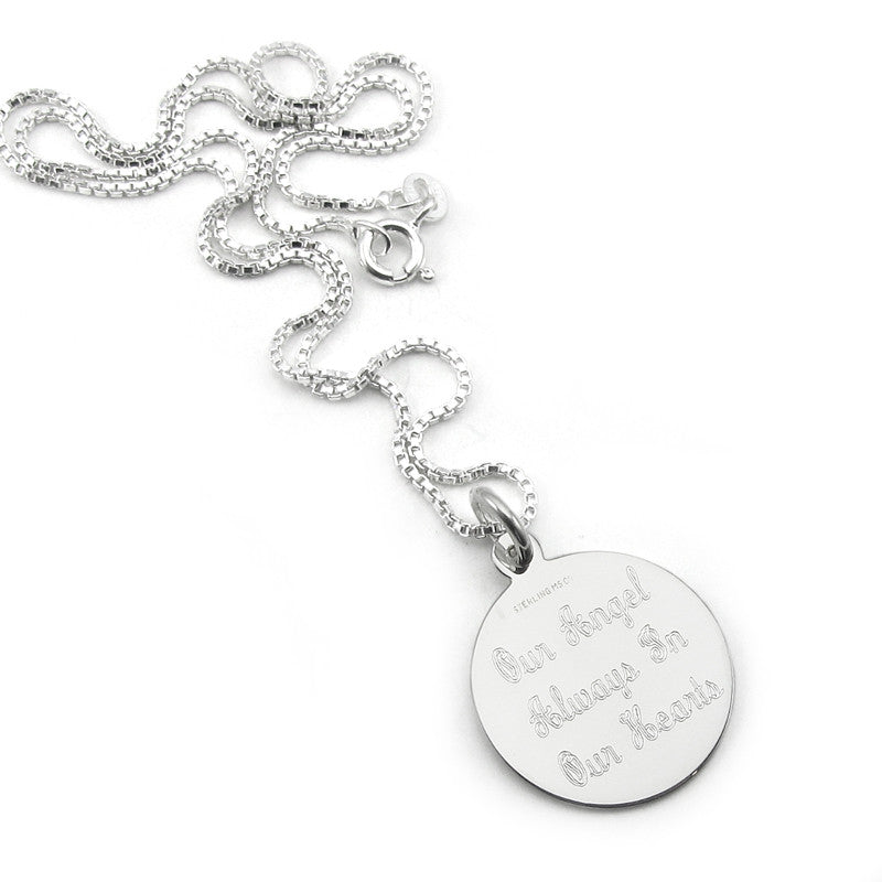 Sterling Silver Round Monogram Necklace with Interlocking Script font