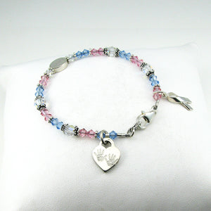 Pregnancy & Infant Loss Awareness Personalized Crystal Bracelet with 2 Baby Hands Heart Charm