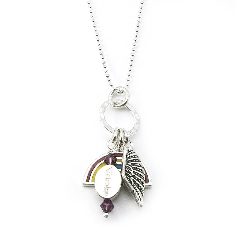Personalized Rainbow Baby Angel Wing Charm Necklace | Sterling Silver