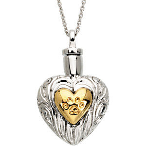 Loss of Pet Paw Print Fancy Heart Cremation Necklace | Sterling Silver, 14K Gold Plate