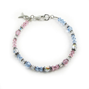 Pregnancy & Infant Loss Awareness Ribbon Crystal Bracelet to acknowledge miscarriage, stillbirth, SIDS, loss of a baby