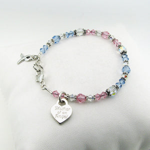 Mother of an Angel Charm on Pregnancy & Infant Loss Awareness Ribbon Crystal Bracelet to acknowledge miscarriage, stillbirth, SIDS, loss of a baby