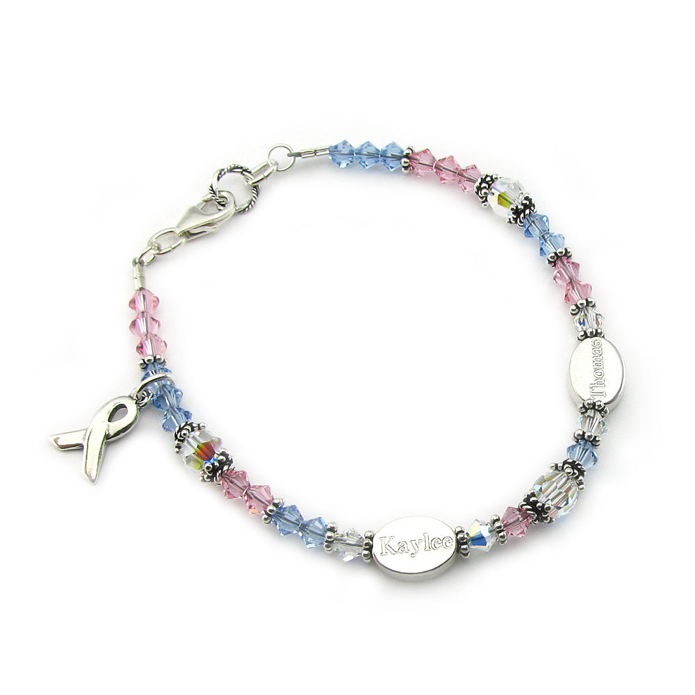 Pregnancy & Infant Loss Awareness Personalized Crystal Bracelet- Memorialize 2 Babies