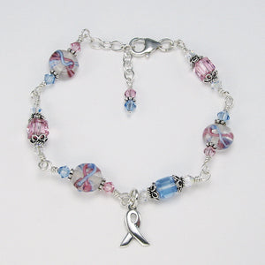 Pregnancy & Infant Loss Awareness Ribbon Cube Crystal Bracelet to acknowledge miscarriage, stillbirth, SIDS, loss of a baby