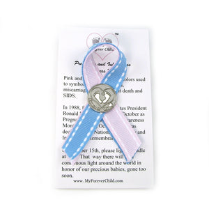 Pregnancy Loss-Miscarriage-Infant Loss-SIDS-Stillbirth Awareness Ribbon Pin with pink and light blue fabric ribbon