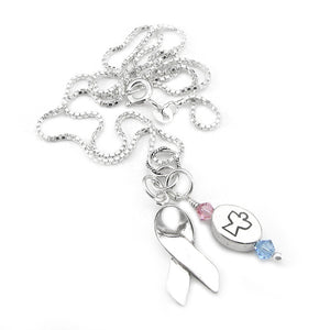 Pregnancy and Infant Loss Awareness Message Charm Support Ribbon Necklace | Sterling Silver