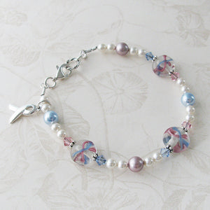Pregnancy & Infant Loss Awareness Ribbon Lampwork Glass & Pearl Bracelet to acknowledge miscarriage, stillbirth, SIDS, loss of a baby