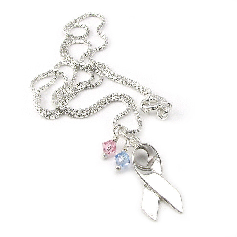 Sterling Silver Pregnancy and Infant Loss medium charm with pink and blue crystal dangles