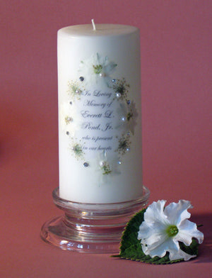 Personalized Memorial Candle- White Flowers with Queen Anne's Lace