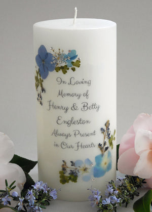 Real Pressed Flower Memorial Candle- Baby Blue Eyes, Blue Hydrangea, Blue Larkspur, White Allysum