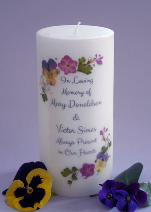 Real Pressed Flower Memorial Candle- Colorful Pansy and Garden Flowers
