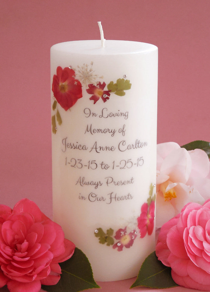 Pressed Flower 3 X 6 Personalized Memorial Candle My