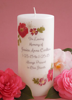 Real Pressed Flower Memorial Candle- Red Rose, Red Verbena, White Larkspur, White Allysum, Maidenhair Fern