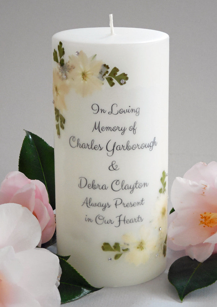 Pressed Flower 3 x 6 Personalized Memorial Candle - My ...