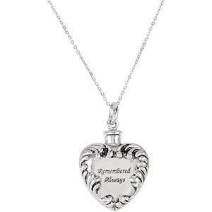 Remembered Always Heart Cremation Necklace | Sterling Silver