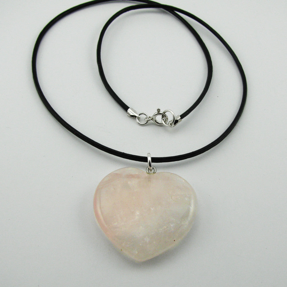 Healing Heart Large Rose Quartz Necklace for grief and healing broken hearts