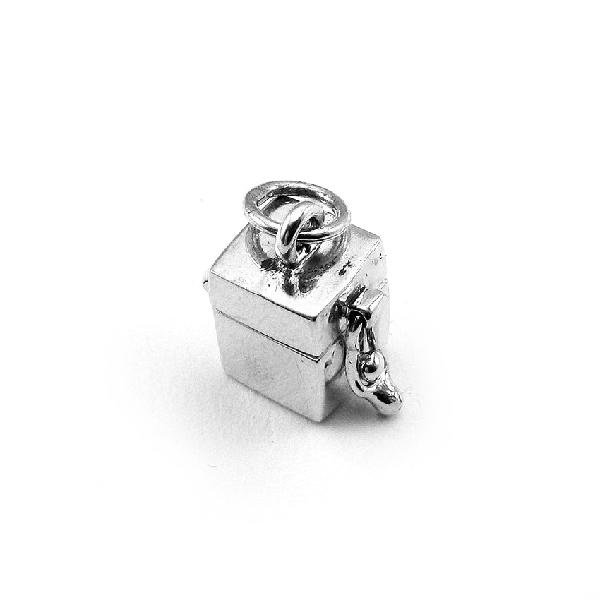Sterling Silver Simple Cube Prayer Box Charm