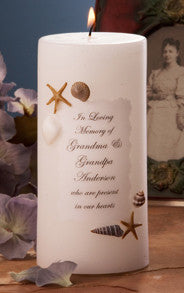 Sea Shell and Starfish 3 x 6 Personalized Memorial Candle