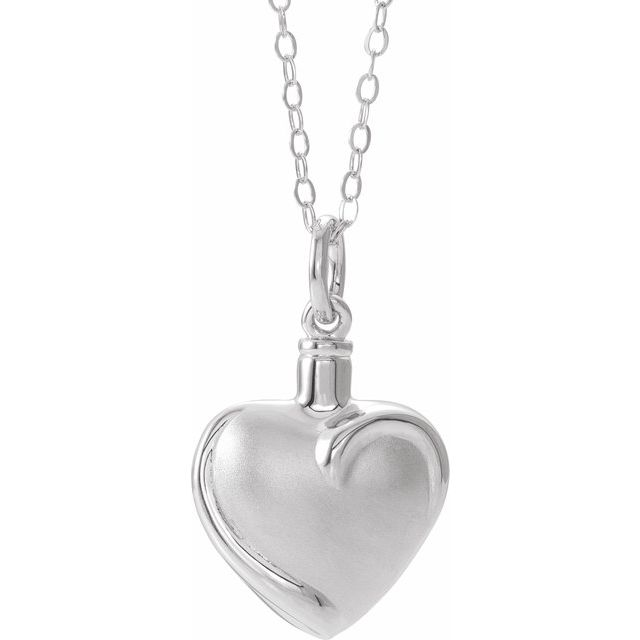 Simple Heart Cremation Necklace | Sterling Silver
