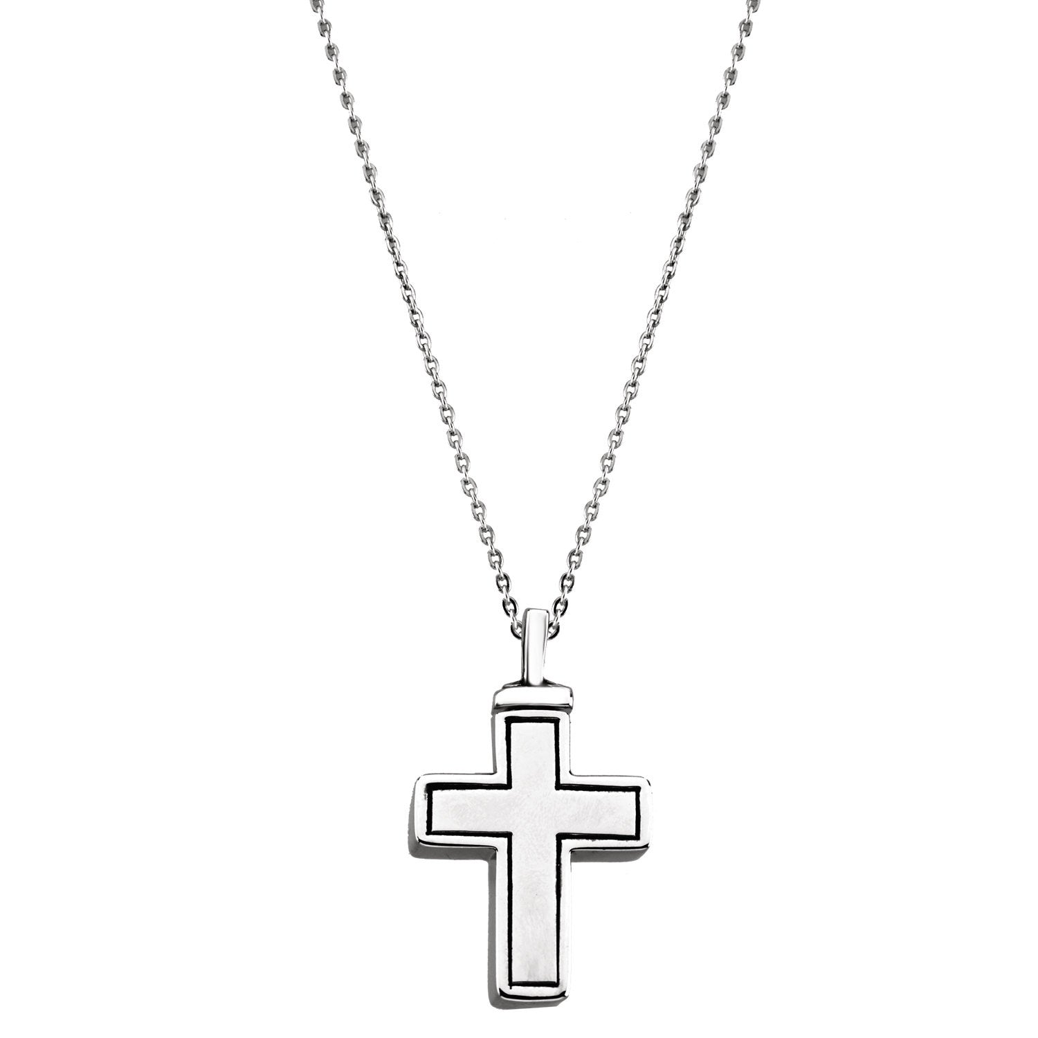 Simple Cross Cremation Necklace | Sterling Silver
