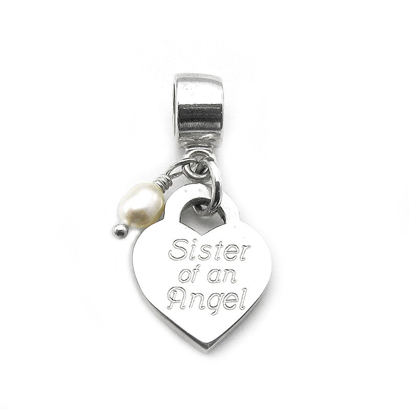 Grandma of Angels charm with simple dangle bead for Pandora bracelets