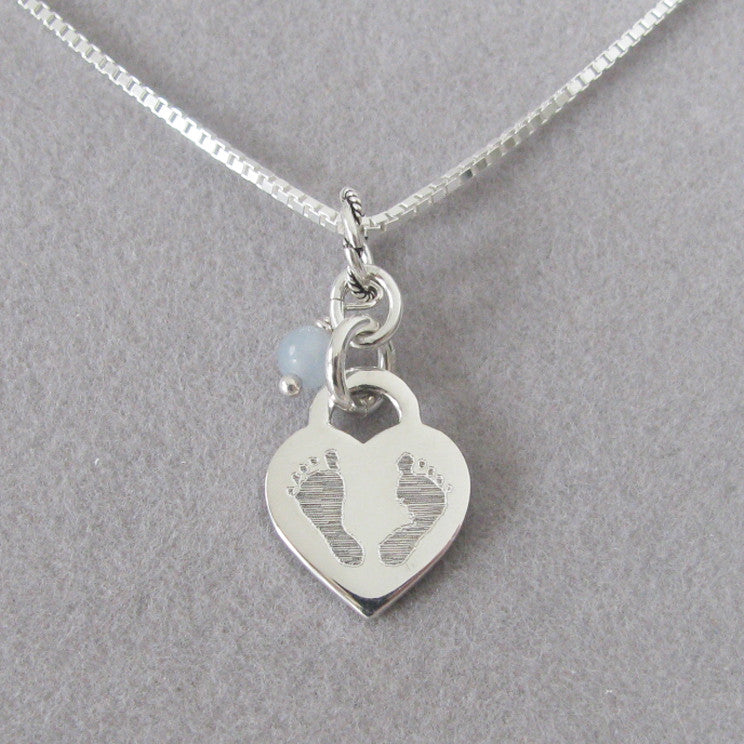 sterling mom new silver footprint necklace with birthstone