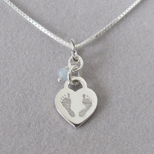 Small Baby Footprints Necklace in Sterling Silver