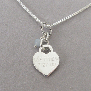 Personalize the back of our small baby footprints necklace with your baby's name and birthdate