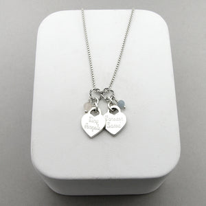 Double Baby Footprints Heart Charm Necklace for the Loss of Two Babies | Script Font