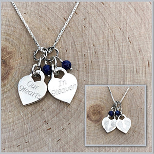 Double Baby Footprints Heart Charm Necklace for the Loss of Two Children | Cursive Font
