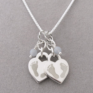 Double Baby Footprints Heart Charm Necklace | Loss of Twins