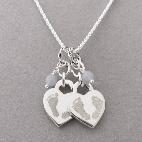 Twin loss gift twin miscarriage jewelry multiple miscarriage double baby footprints heart charm necklace loss of twins aloadofball Choice Image