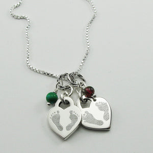 Double Baby Footprints Heart Charm Necklace for the Loss of Two Babies