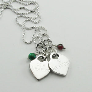 Double Baby Footprints Heart Charm Necklace for the Loss of Two Children | Block Font