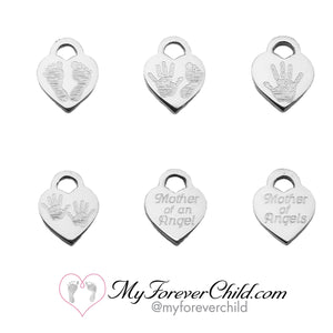 Select one of our engraved small heart charms that can be personalized on the back, to add on to your pearl angel memorial bracelet