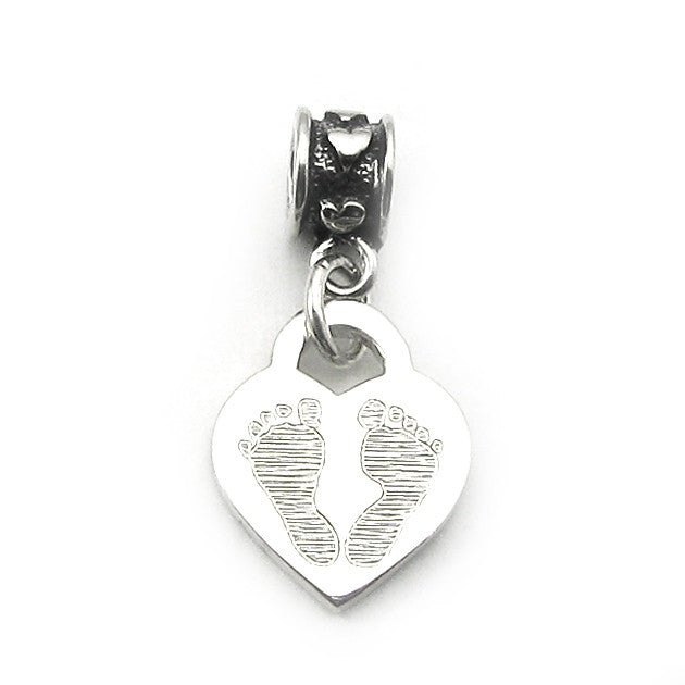 Baby Handprints engraved sterling silver heart with mini hearts bead dangle for Pandora bracelets