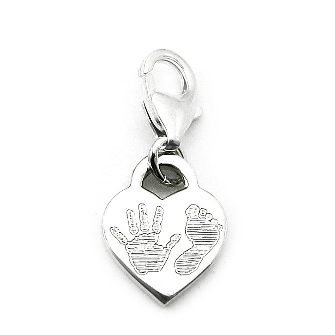 Baby Handprint charm with lobster claw clasp for bracelets